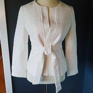 Banana Republic white wrap tweed blazer size 14